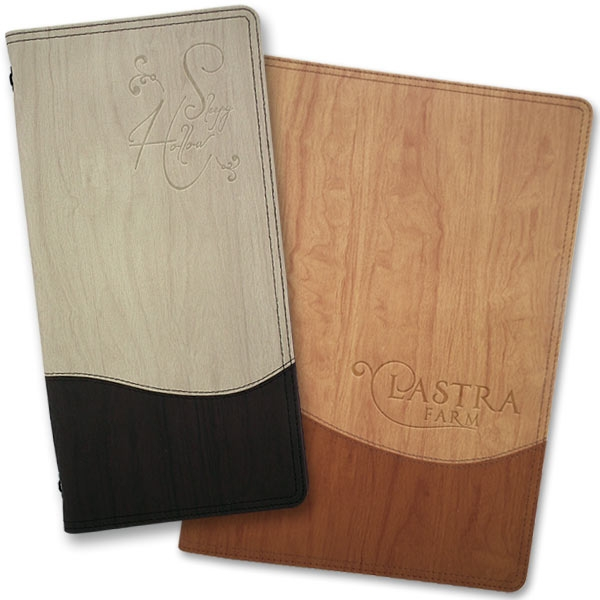 Wood menu covers with personalised embossing