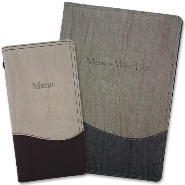 Wood menu covers with standard titles such as menu and wine list