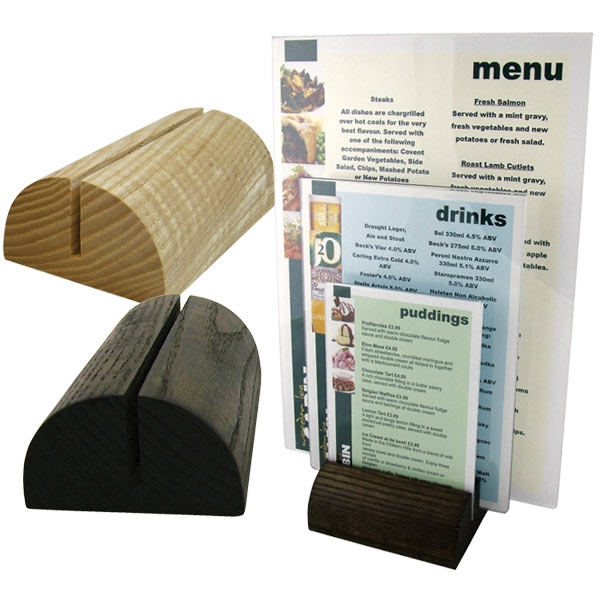 Table menu holder wooden restaurant display for Restaurant table menu