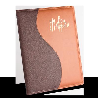 custom menu cover, soft padded menus, faux leather menu covers, wave design menus, restaurant menu covers.