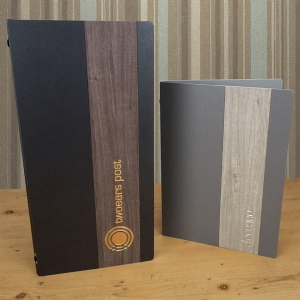 Menu covers, metal menus, modern menus, menu shop